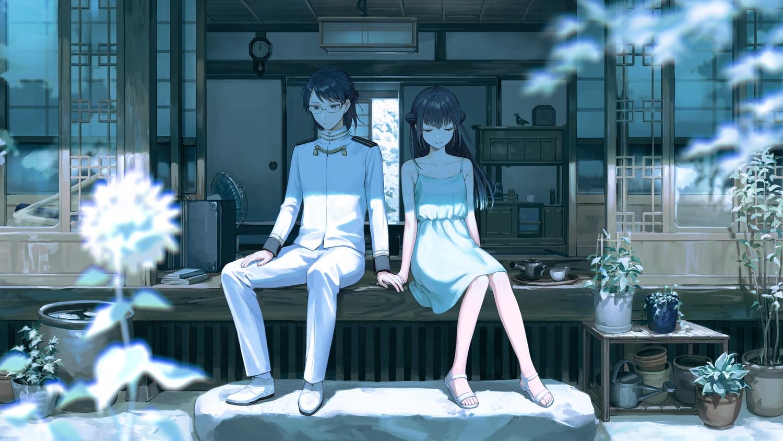 black_eyes black_hair book dress flowers glasses kotatiyu male nijisanji scenic short_hair uniform yamagami_karuta