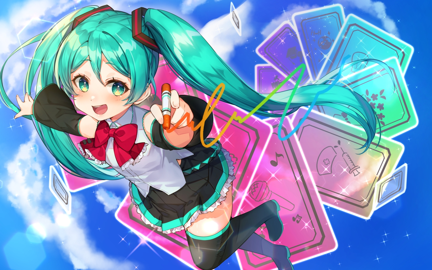 boots bow clouds green_eyes green_hair hatsune_miku loli long_hair nonomaro skirt sky thighhighs twintails vocaloid zettai_ryouiki