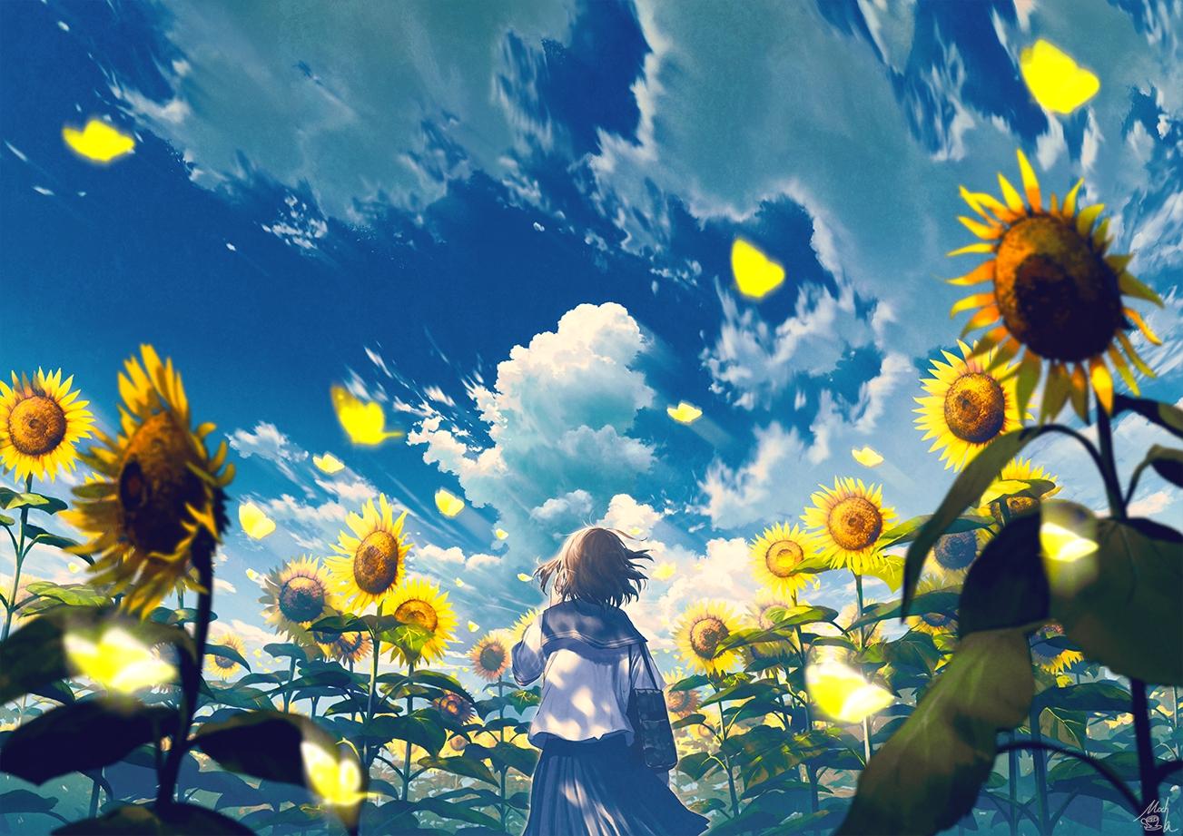 brown_hair clouds flowers mocha_(cotton) original petals school_uniform short_hair signed skirt sky summer sunflower