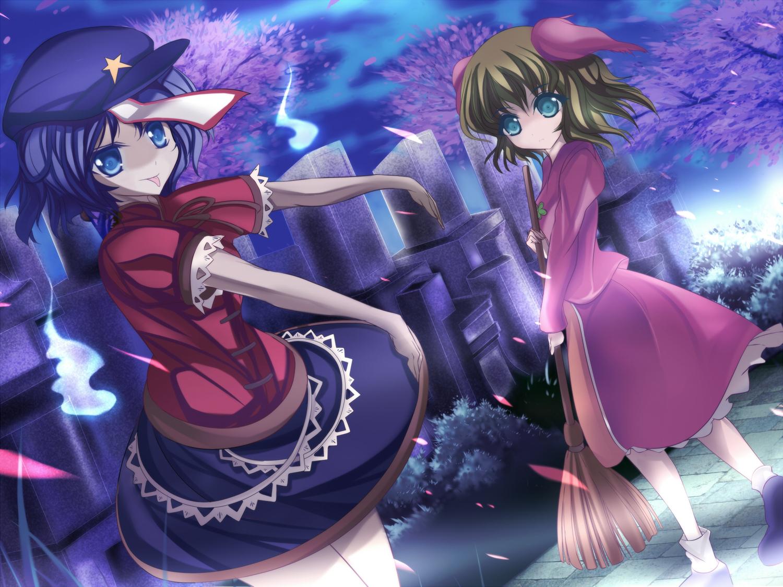 2girls animal_ears blue_eyes blue_hair cherry_blossoms green_eyes green_hair kasodani_kyouko marionette_(excle) miyako_yoshika petals touhou
