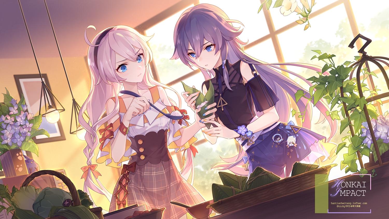 2girls blue_eyes flowers food fu_hua gray_hair honkai_impact kiana_kaslana kickylian long_hair purple_hair twintails waifu2x watermark