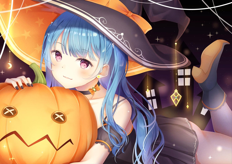 choker dress halloween hat koki_(latte1023) long_hair original pumpkin purple_eyes witch_hat