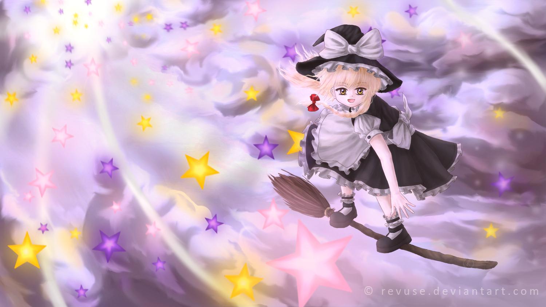 blonde_hair clouds kirisame_marisa long_hair revuse_(aerow) stars touhou witch yellow_eyes