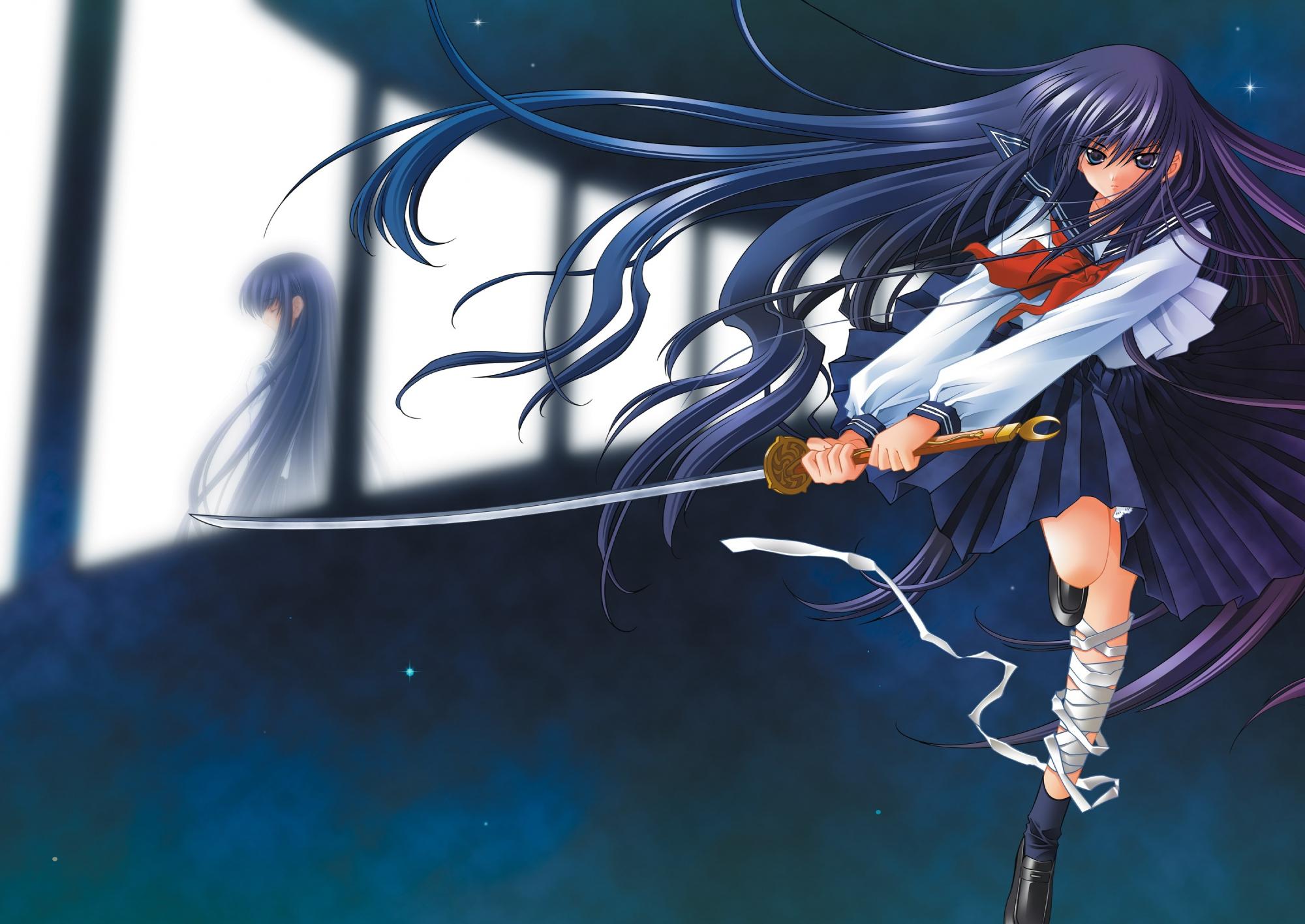 azuma_hazuki bandage carnelian long_hair school_uniform sword weapon yami_to_boushi_to_hon_no_tabibito