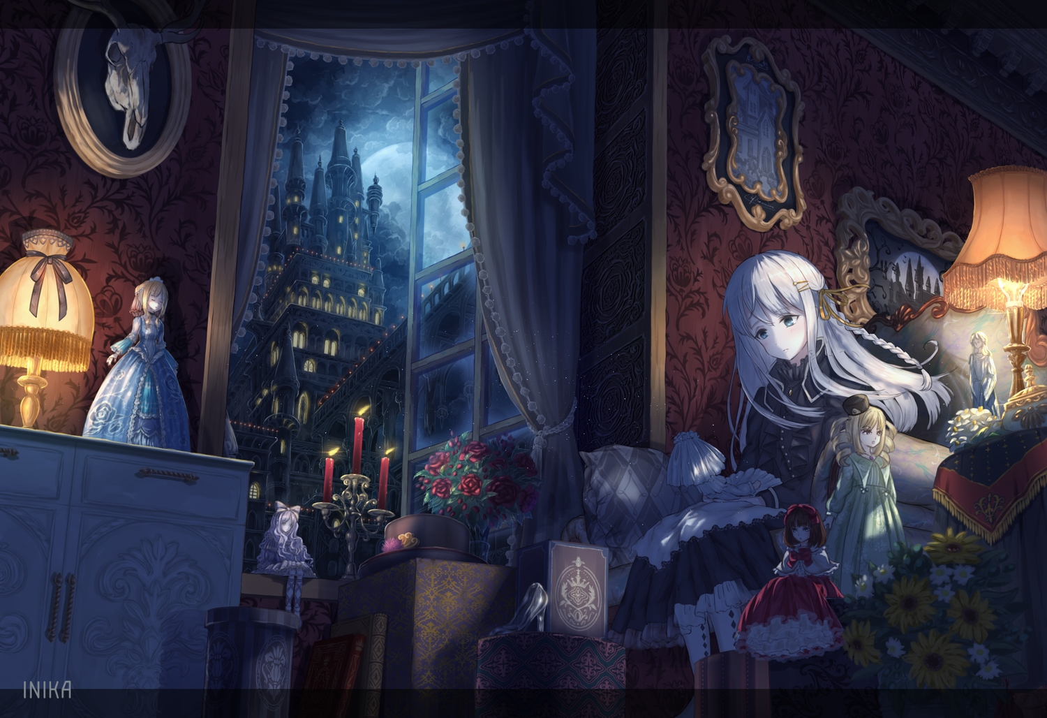 blue_eyes braids building clouds dark doll dress flowers goth-loli inika landscape lolita_fashion long_hair moon night original scenic sky watermark white_hair