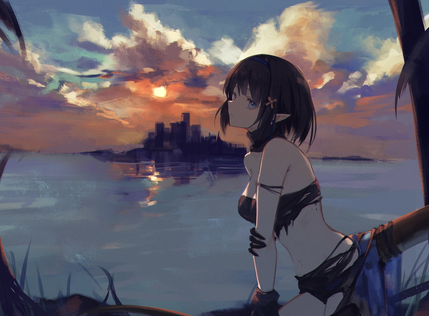 7ife arknights blue_eyes clouds dark eunectes_(arknights) pointed_ears sky sunset tail torn_clothes water