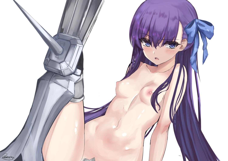 armor blue_eyes bow breasts fate/grand_order fate_(series) kesoshirou long_hair meltryllis navel nipples purple_hair signed topless white