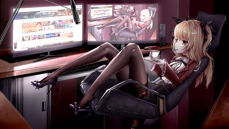 anotoki_ashi bili_bili_douga computer long_hair pantyhose