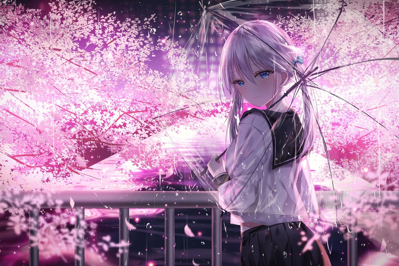 aliasing blue_eyes cherry_blossoms flowers jpeg_artifacts junpaku_karen long_hair original rain school_uniform skirt tears tree twintails umbrella water white_hair