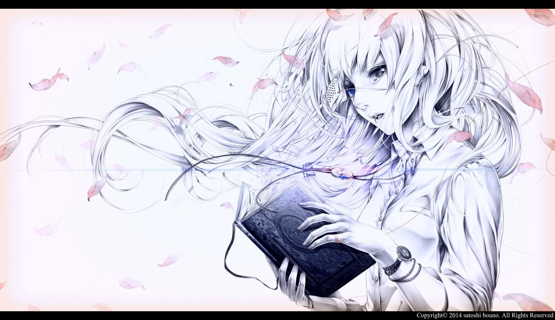 bandaid bicolored_eyes book bouno_satoshi eyepatch long_hair necklace original petals polychromatic tears watermark white white_hair