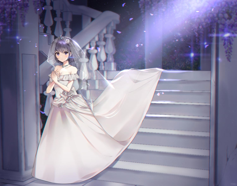 breasts cleavage dress flowers headdress necklace original poho purple_eyes purple_hair short_hair stairs tiara wedding_attire