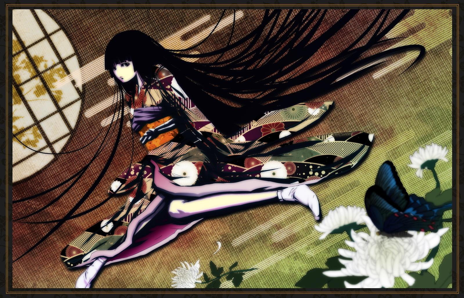black_eyes black_hair butterfly flowers japanese_clothes kimono long_hair mubouou_aasaa original