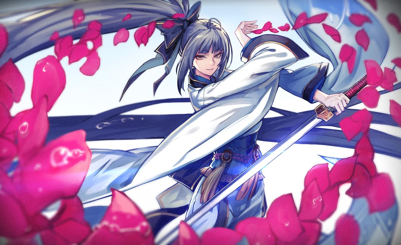 bow gray_hair japanese_clothes long_hair original petals pixiv_fantasia ponytail ryuuzaki_ichi sword water weapon yellow_eyes