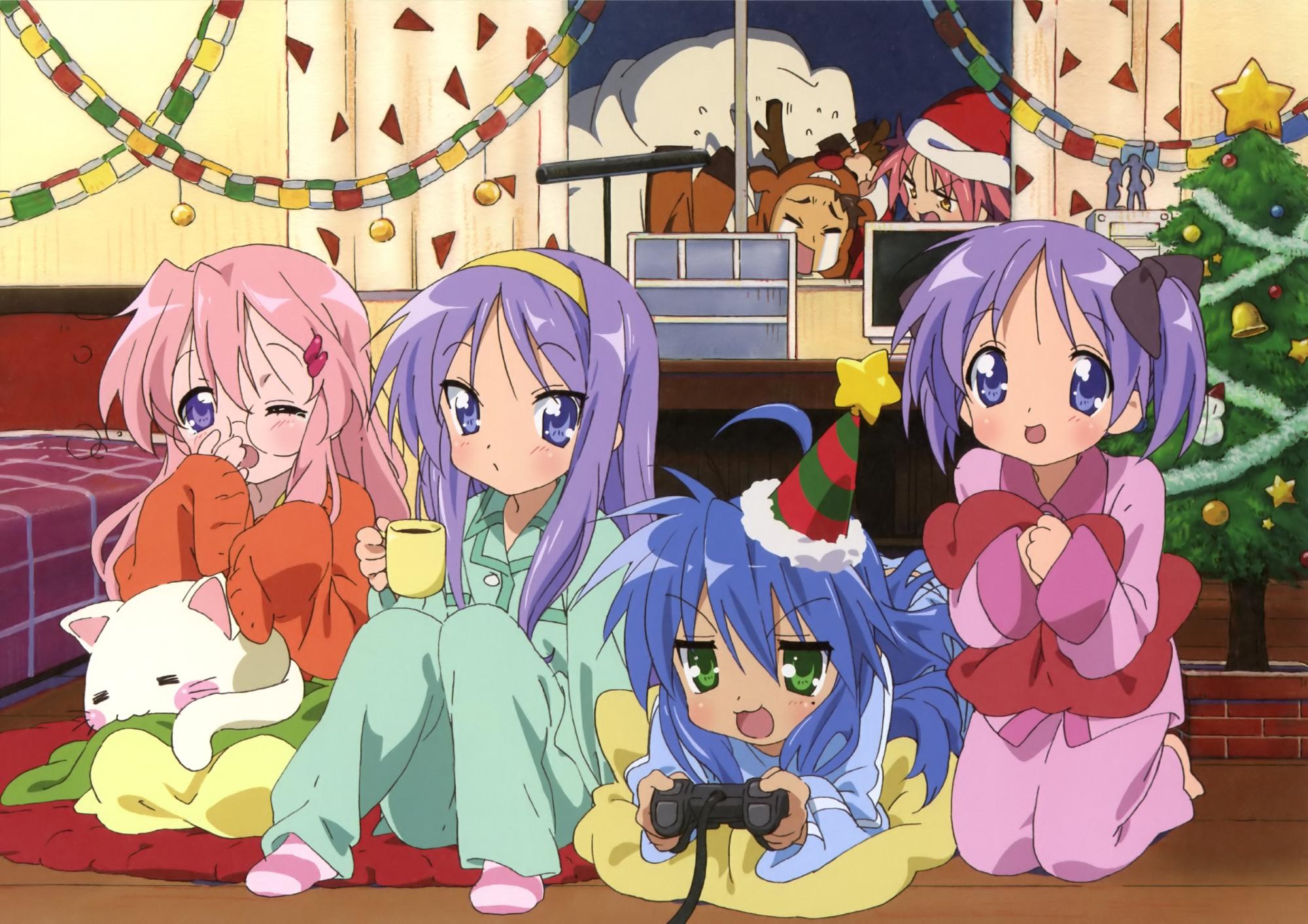 christmas hiiragi_kagami hiiragi_tsukasa izumi_konata kogami_akira lucky_star pajamas scan shiraishi_minoru takara_miyuki