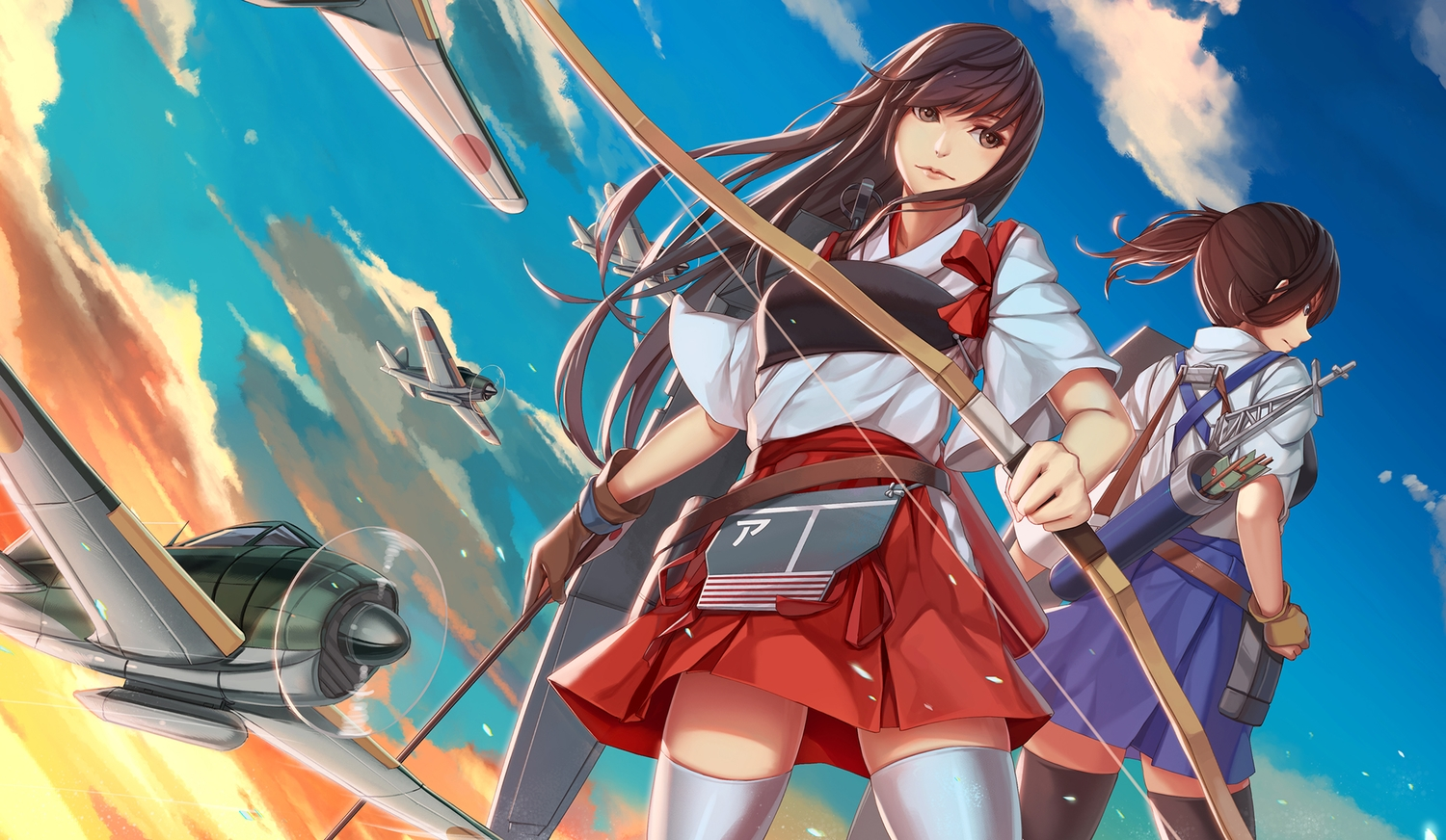 2girls aircraft akagi_(kancolle) anthropomorphism bow_(weapon) brown_hair clouds gloves japanese_clothes kaga_(kancolle) kantai_collection nian ponytail skirt thighhighs weapon
