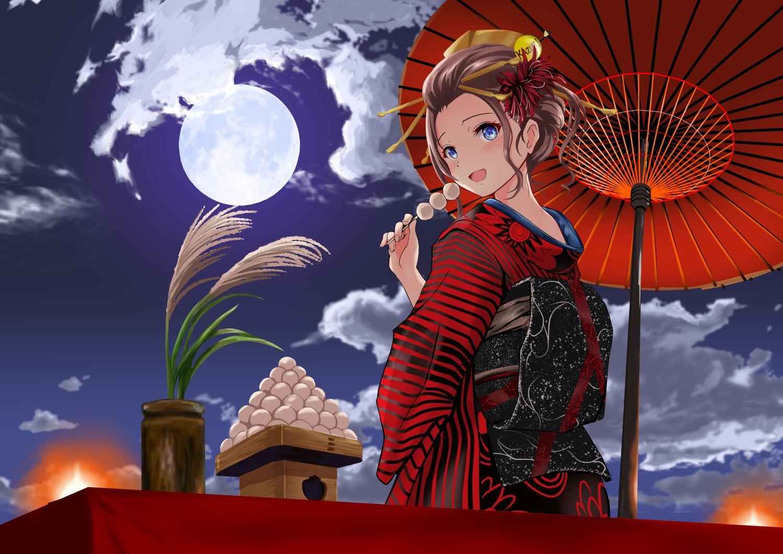 blue_eyes blush brown_hair clouds food gibun_(sozoshu) japanese_clothes kimono moon original short_hair sky umbrella
