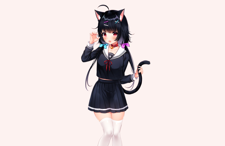 animal_ears bell black_hair blush brown catgirl collar fang long_hair original red_eyes school_uniform shouu-kun skirt tail thighhighs twintails zettai_ryouiki