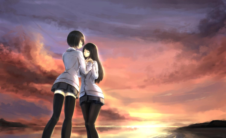2girls black_hair clouds kikivi long_hair original pantyhose short_hair shoujo_ai skirt sky sunset thighhighs