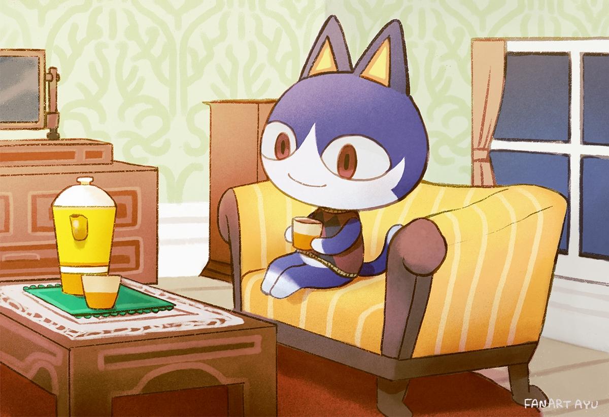 animal ayu_(mog) cat couch doubutsu_no_mori drink mishiranu_neko red_eyes signed