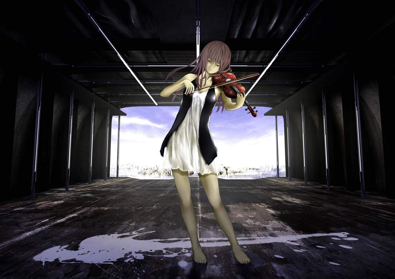 barefoot brown_hair dress instrument long_hair loundraw original tears violin