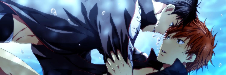 all_male black_hair close dualscreen free! male mikoshiba_momotarou orange_hair pool shounen_ai swimsuit tagme_(artist) underwater waifu2x water yamazaki_sousuke
