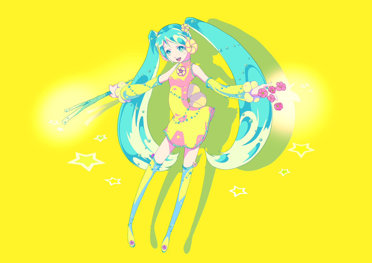 chinese_dress hatsune_miku vocaloid yellow