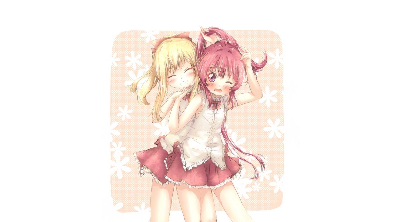 2girls blonde_hair blush kuma21543 long_hair pink_eyes pink_hair ponytail sugiura_ayano toshinou_kyouko wink yuru_yuri