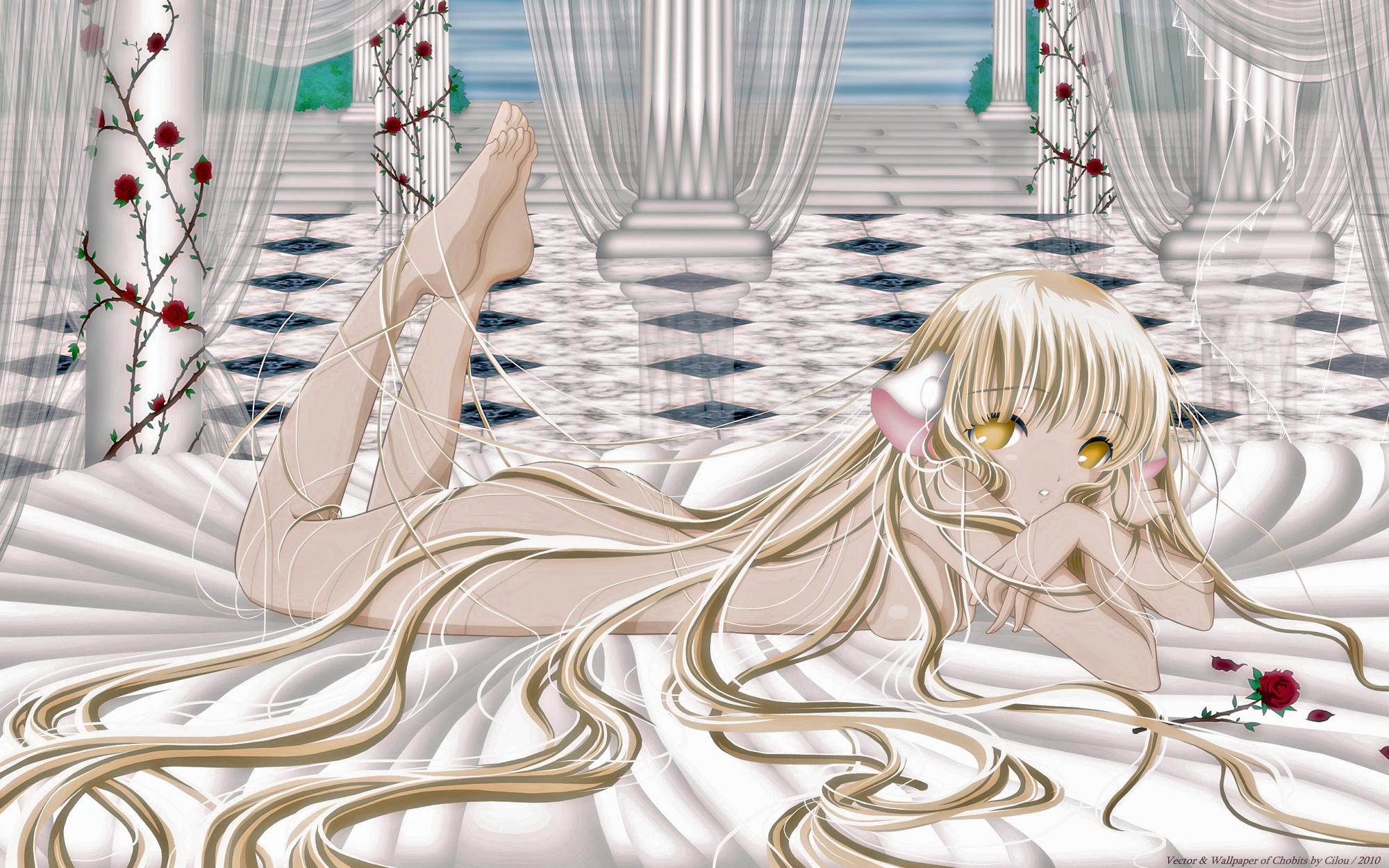blonde_hair chii chobits flowers long_hair nude rose yellow_eyes