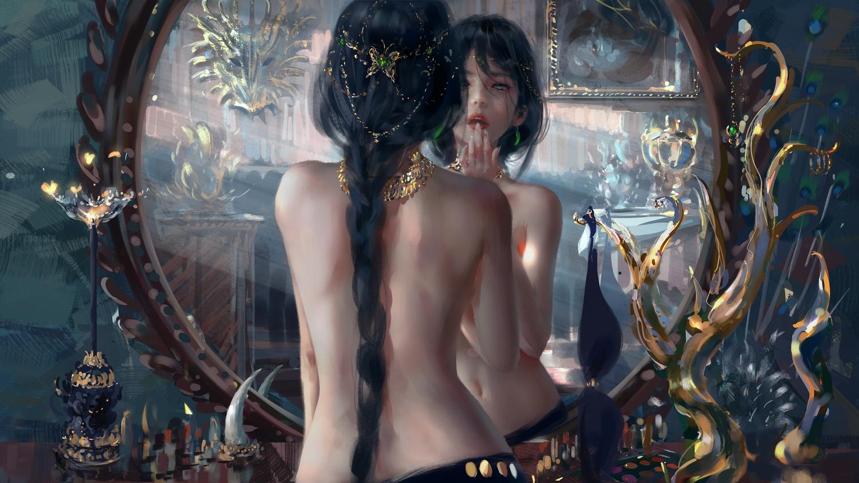 black_hair braids ghostblade green_eyes headdress long_hair mirror navel necklace ponytail princess_aeolian reflection topless wlop