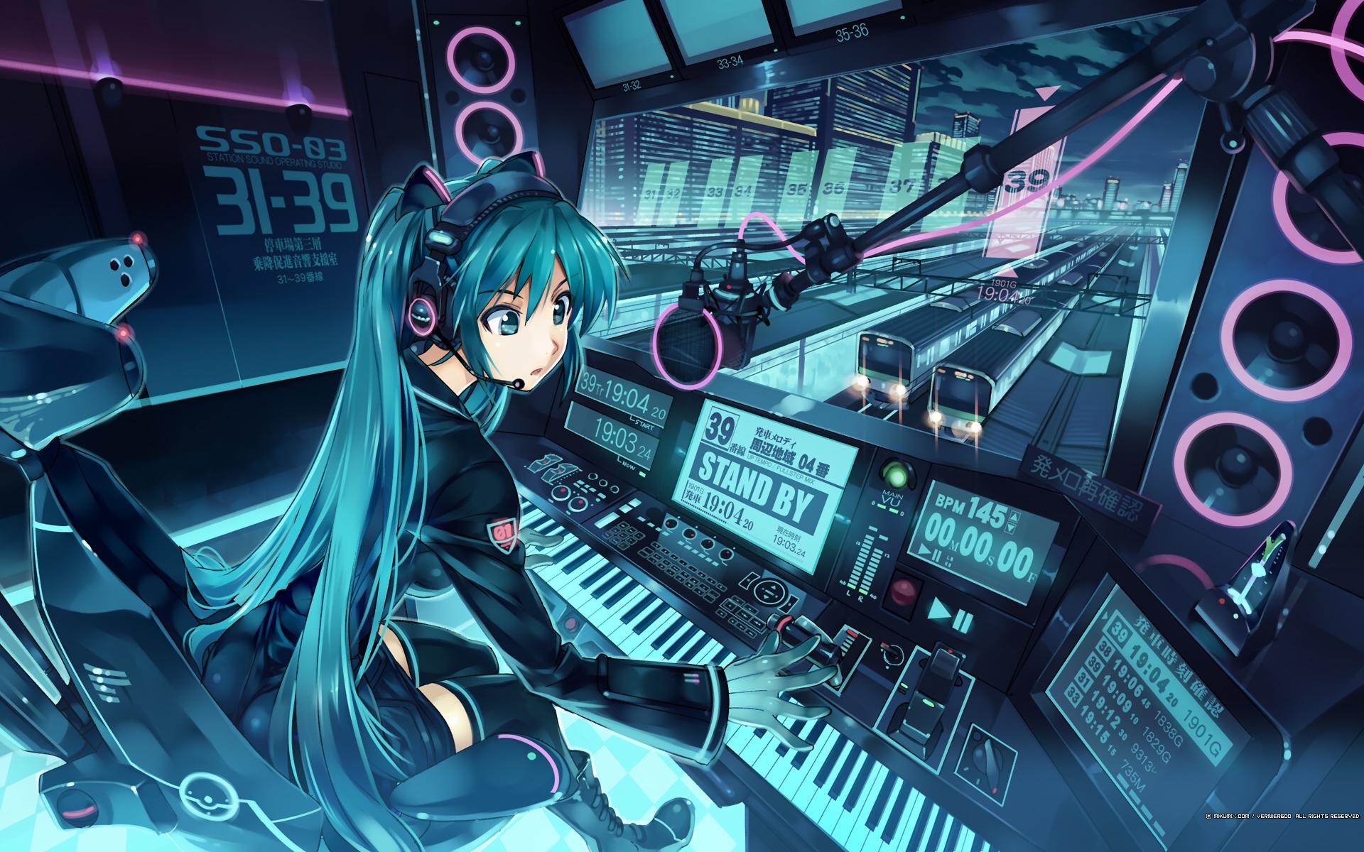 aqua_eyes aqua_hair boots hatsune_miku headphones long_hair mikumix thighhighs train twintails vania600 vocaloid