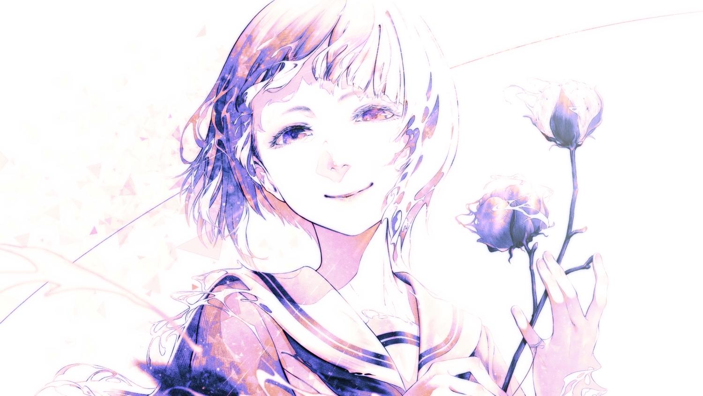 bouno_satoshi close flowers monochrome original purple_eyes rose school_uniform short_hair