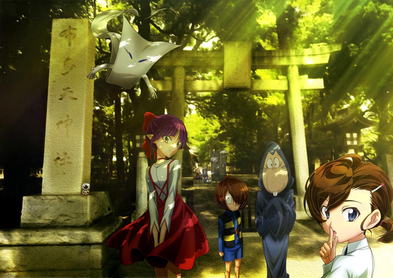 gegege_no_kitaro group inuyama_mana ittan-momen kitaro_(gegege_no_kitaro) medama-oyaji neko_musume nezumi_otoko scan tagme_(artist) torii