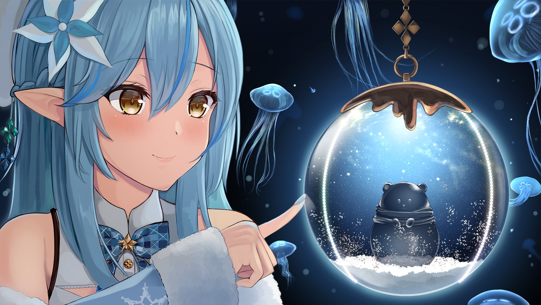 animal blue_hair bow braids close hololive pointed_ears shaketarako snow yellow_eyes yukihana_lamy