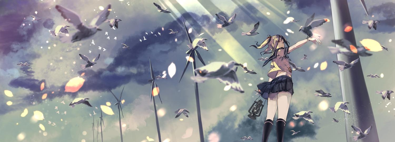 animal anthropomorphism bird brown_eyes brown_hair cherry_blossoms clouds flowers fujita_(condor) kantai_collection kneehighs long_hair sazanami_(kancolle) school_uniform skirt sky twintails