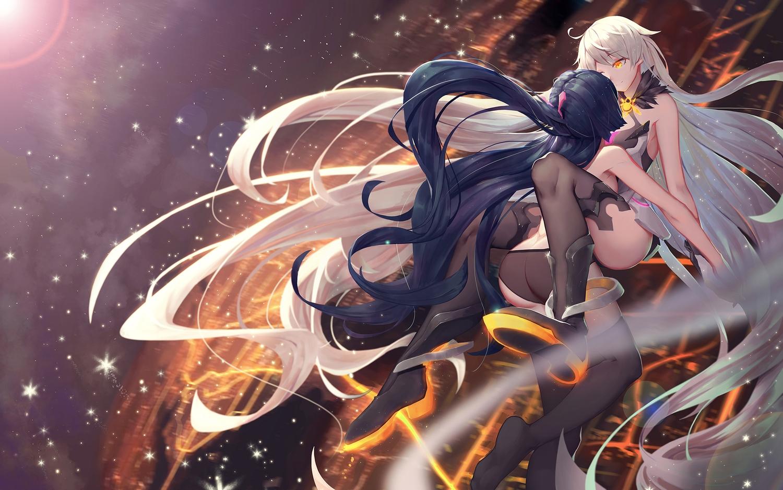 2girls asa_ni_haru ass black_hair honkai_impact kiana_kaslana long_hair raiden_mei shoujo_ai thighhighs white_hair yellow_eyes