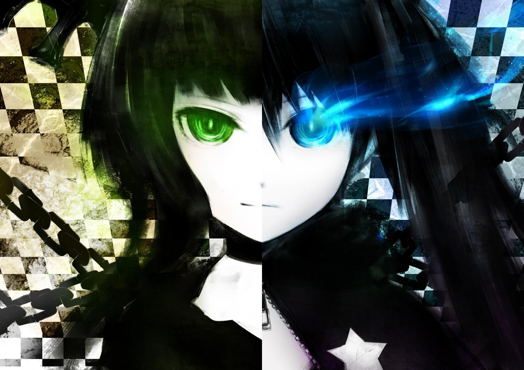 black_hair black_rock_shooter blue_eyes green_eyes green_hair kuroi_mato long_hair takanashi_yomi