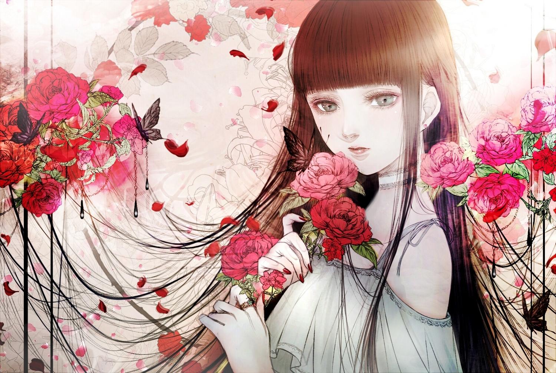 black_hair butterfly choker flowers long_hair original petals polychromatic rose satsuki_kei