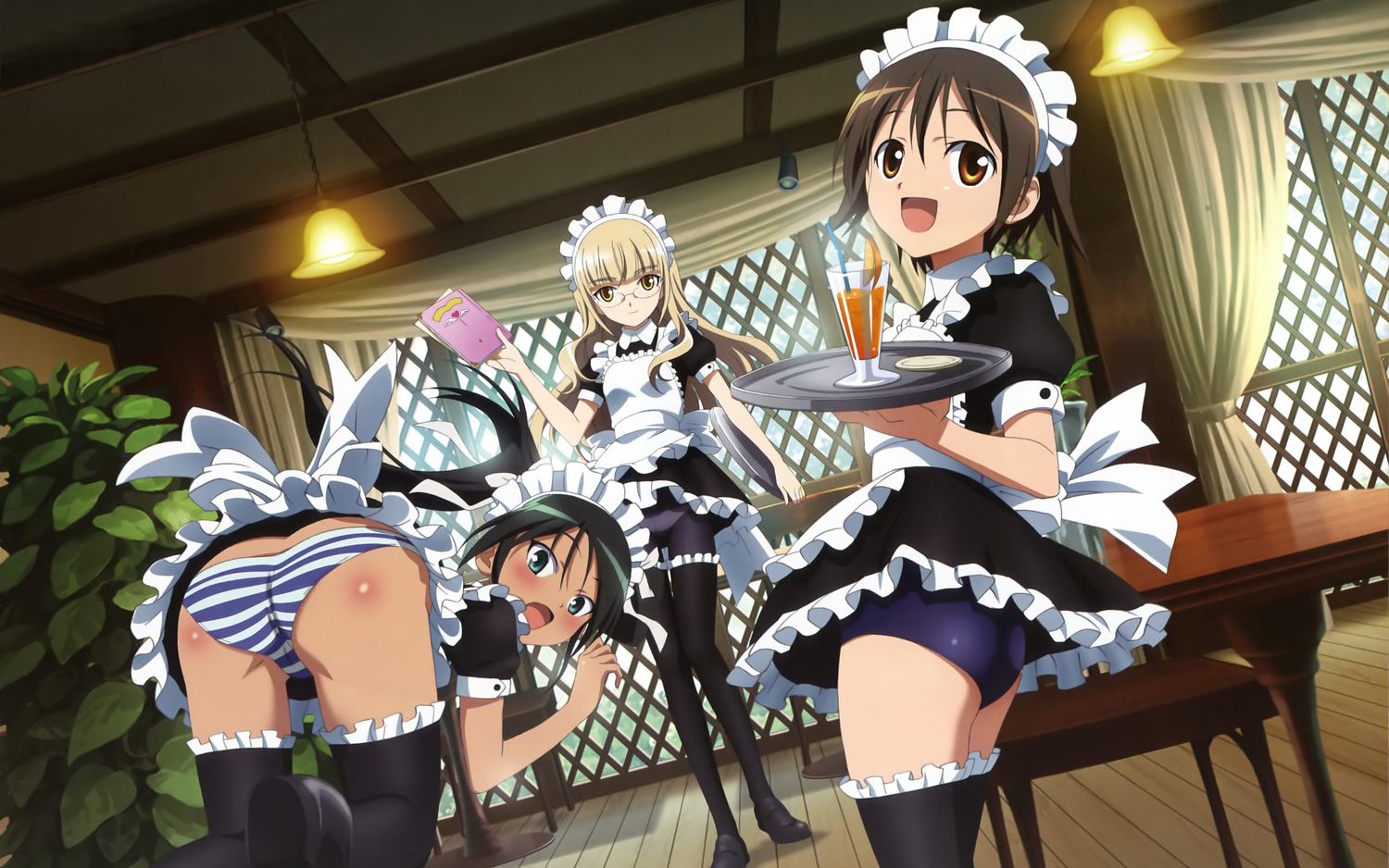 francesca_lucchini maid megami miyafuji_yoshika panties perrine-h_clostermann strike_witches striped_panties underwear