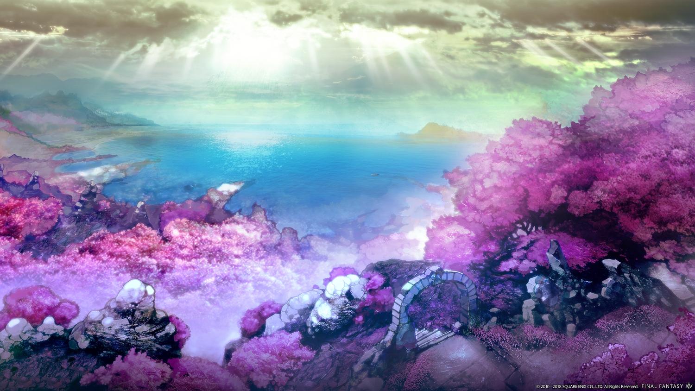 building final_fantasy final_fantasy_xiv forest landscape scenic sky square_enix tree water watermark