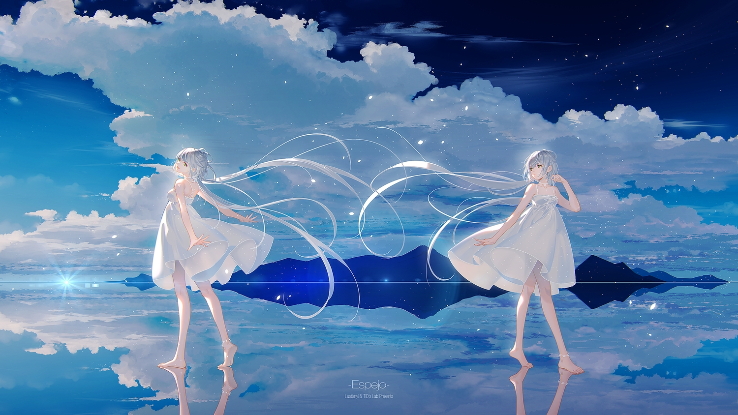 barefoot choker clouds dress gray_hair green_eyes long_hair luo_tianyi reflection sky summer_dress tidsean twintails vocaloid vocaloid_china watermark