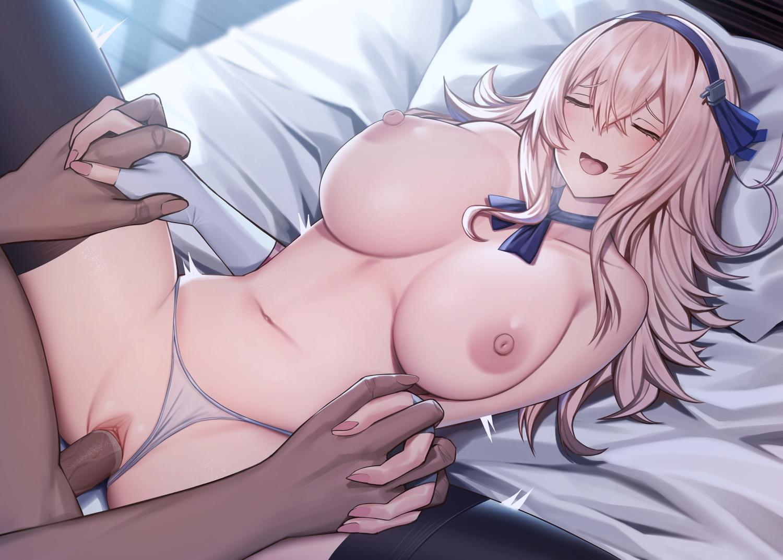 anthropomorphism azur_lane bed breasts leander_(azur_lane) nipples panties penis pussy sex siu_(siu0207) spread_legs topless uncensored underwear