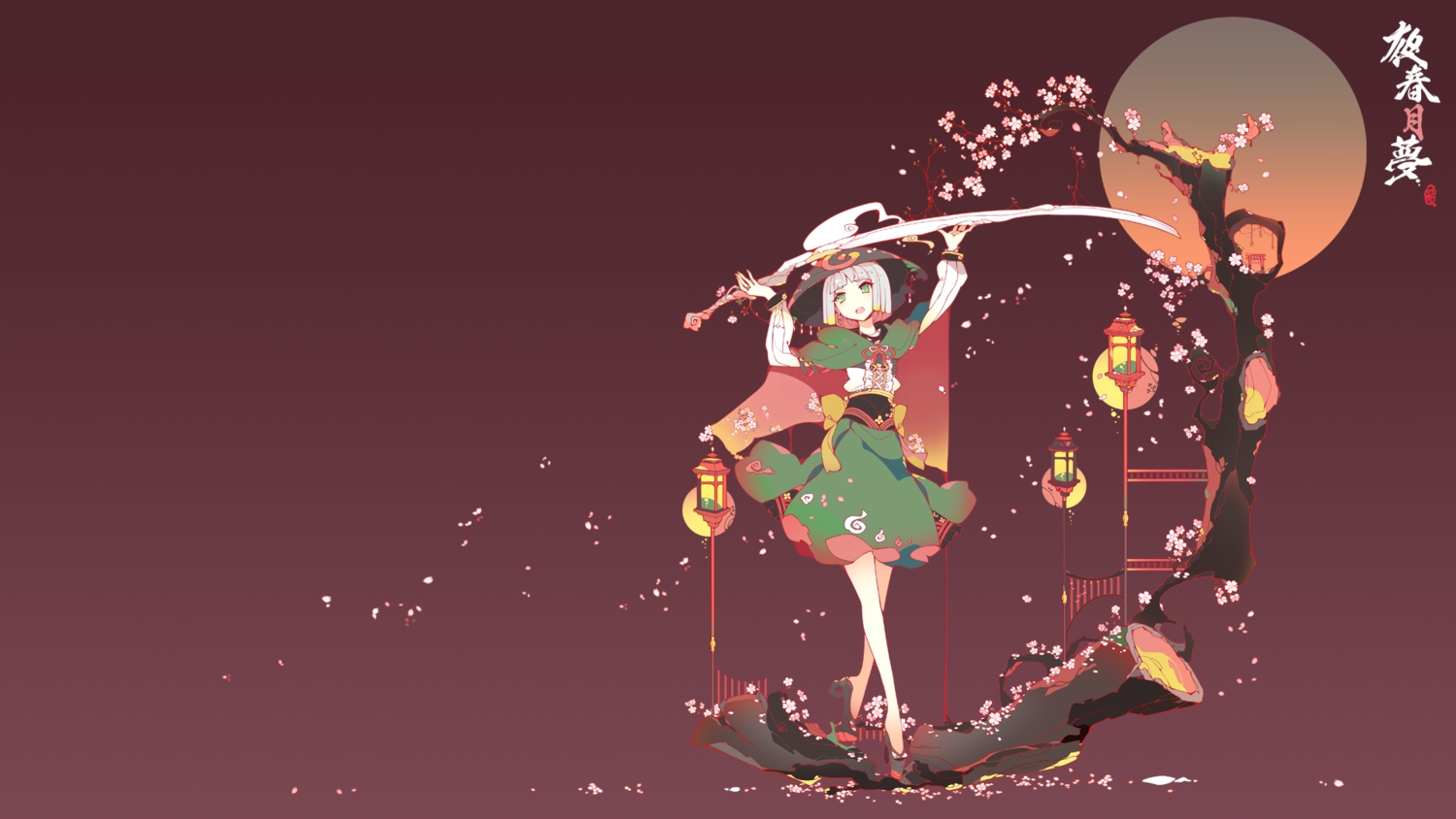 bow cherry_blossoms gradient green_eyes ideolo japanese_clothes konpaku_youmu myon red short_hair sword touhou tree weapon white_hair