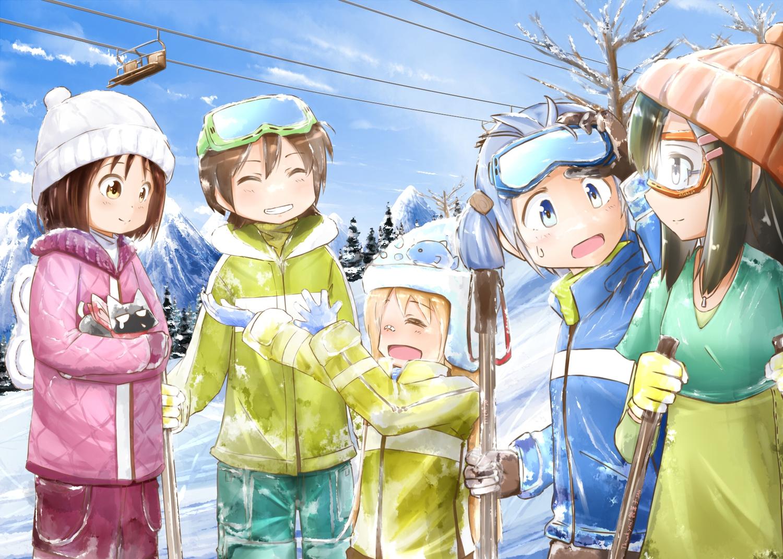 aioi_yuuko animal blue_hair blush brown_hair cat hakase_(nichijou) minakami_mai minamito naganohara_mio nichijou sakamoto_(nichijou) shinonome_nano