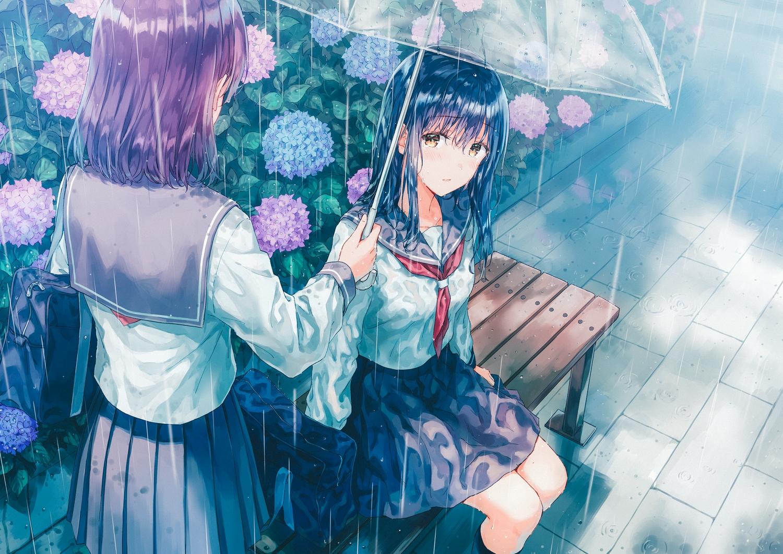 2girls black_hair blush brown_eyes crying flowers hiten_goane_ryu original purple_hair rain school_uniform skirt umbrella water wet