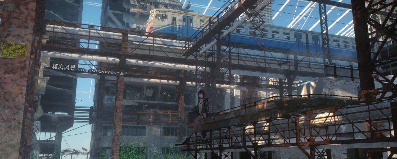 3d black_eyes black_hair building hoodie industrial long_hair original scenic swd3e2 thighhighs train watermark