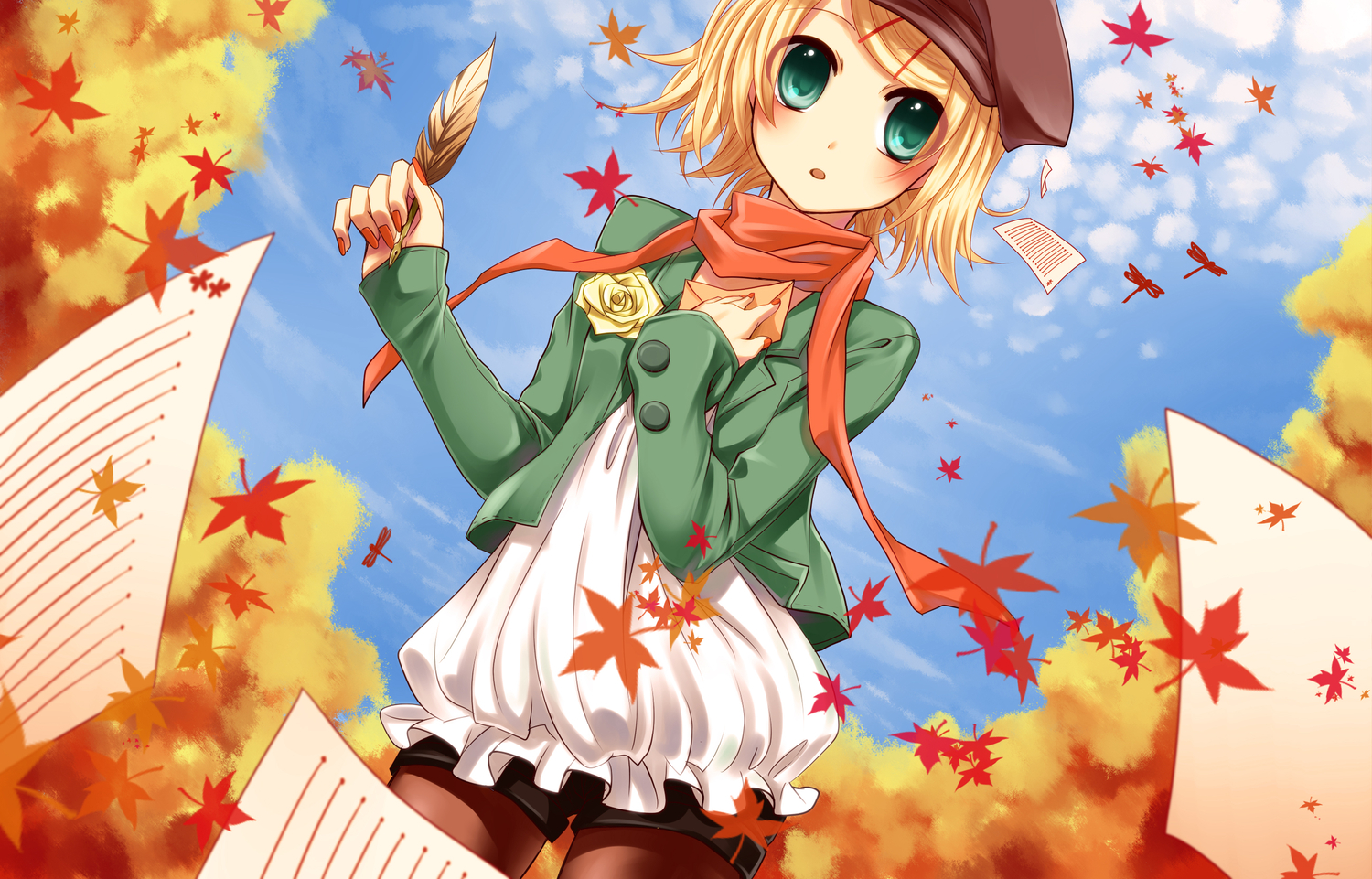 autumn blonde_hair feathers flowers green_eyes hat kagamine_rin leaves rose scarf sky vocaloid yayoi_(egoistic_realism)