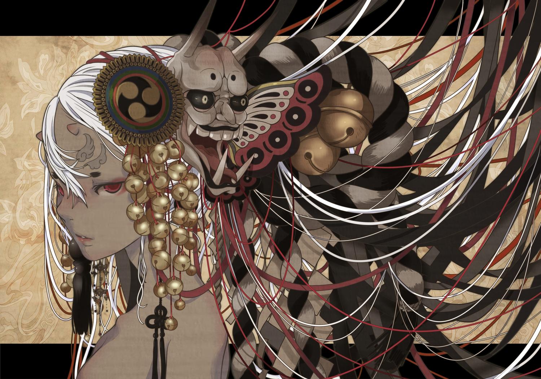 bell dark_skin demon mask nanahara_shie original red_eyes white_hair