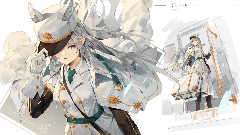 animal_ears gloves gray_hair hat ji_dao_ji long_hair military original pointed_ears tie uniform