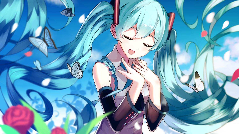 aliasing aqua_hair hatsune_miku long_hair tagme_(artist) twintails vocaloid