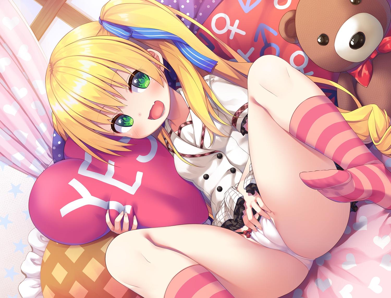 asa_no_ha blonde_hair blush cameltoe fang green_eyes kneehighs loli original panties teddy_bear underwear